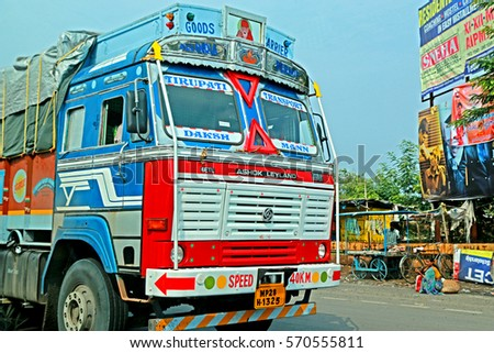 NAGPUR-INDIA-JUNE 17 : The transportation truck on the local road on June 17, 2015 Nagpur Province, India.