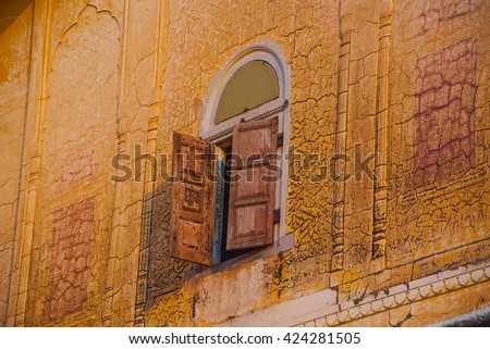 Nahagarh Fort overlooking the pink city of Jaipur in the Indian state of Rajasthan.Architectural detail. - stock photo