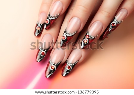 Nail art design. - stock photo