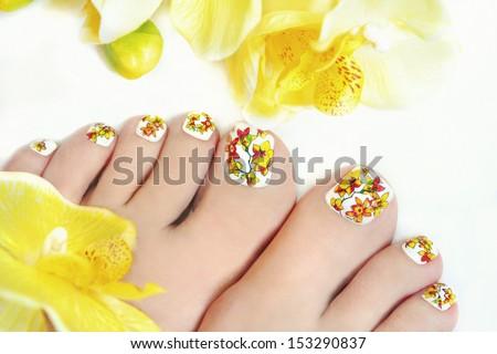 Nail Art Design On Womens Legs Stock Photo Edit Now 153290837