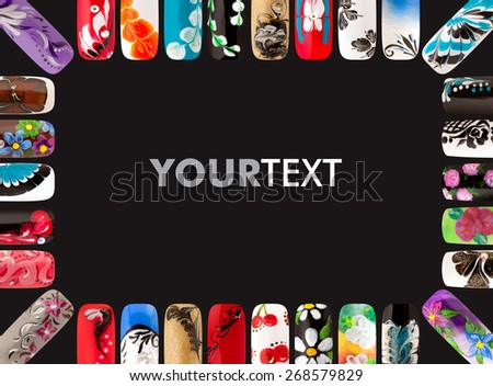 Nail art handmade. Colorful nails isolated a black background - stock photo