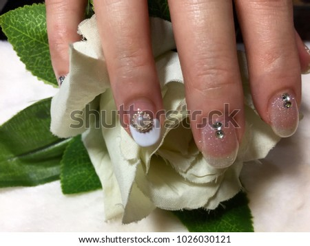 Nail Artist Close Up Shot Of Art Bridal Manicure With Painted Nails Bride