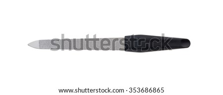 Nail file with black grip on white background isolated - stock photo