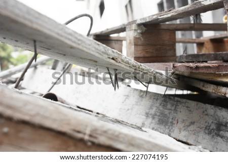 nail injury (construction) - stock photo