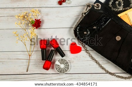 nail make-up Bag cosmetics makeup bag woman lady stuff - stock photo