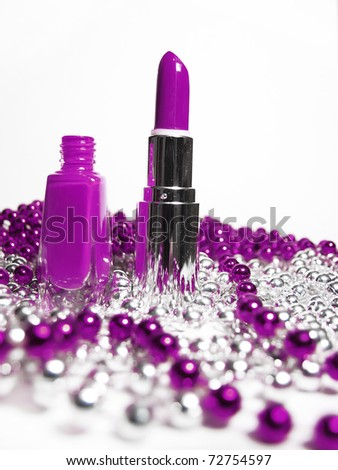 nail polish and lipstick - stock photo