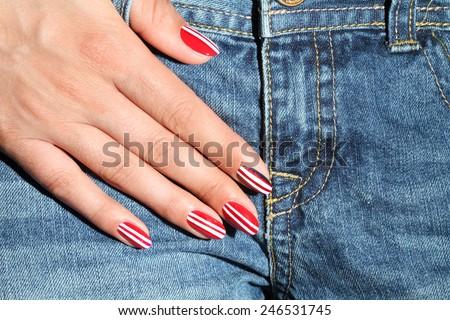 Nail Polish. Art Manicure. Colored Nail Polish. Beauty hands. Stylish Colorful Nails - stock photo