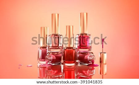 Nail polish. Beautiful, fashionable glamor background illustration. 3d. Pink, red, scarlet.