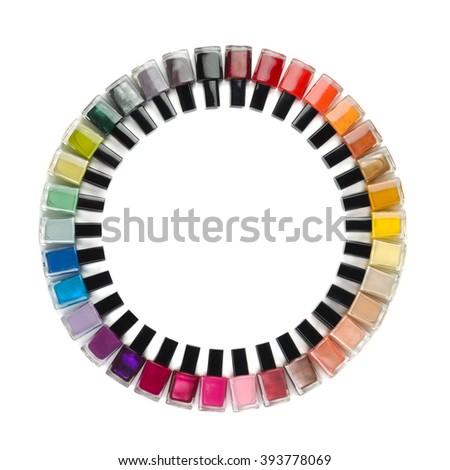 Nail polish colorful bottles circle isolated on white - stock photo