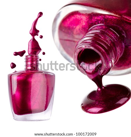 Nail polish on isolated white background - stock photo