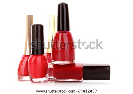 nail polishes isolated on white