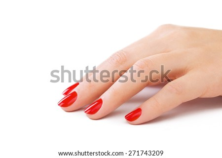 Nail, red, close-up.