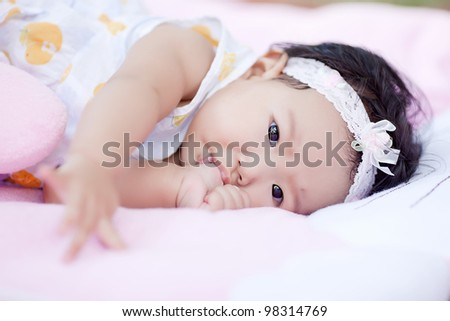 Nail shock in baby laying - stock photo