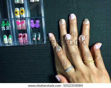 Nails Art Asian Female Hands Nails Stock Photo Royalty Free