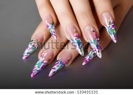 Nails design. - stock photo