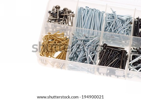 nails in box isolated on white background