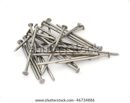 Nails isolated on white background - stock photo