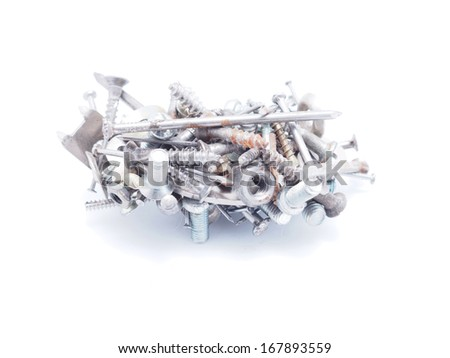 Nails, screws and nuts on a white background - stock photo
