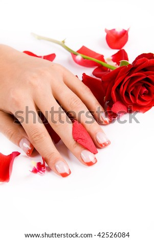 nails with roses on white background