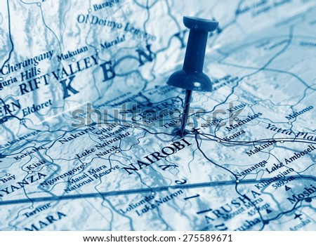 Nairobi  destination in the map - stock photo