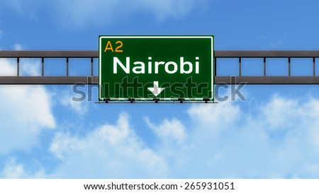 Nairobi Kenya Africa Highway Road Sign - stock photo