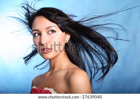 Naive look. Hair motion - stock photo