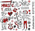 naive musical doodles, hand drawn childlike design elements isolated on white background - stock vector