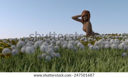 Тоненькая обнаженная Melina Femjoy на поле