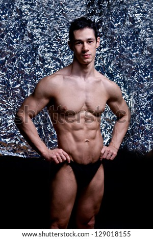 naked athlete with strong body - stock photo
