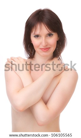 Naked Beauty, covering his chest with his hands, on a white background.
