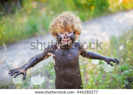 Naked Boy Mud Stock Photo 446280277 Shutterstock