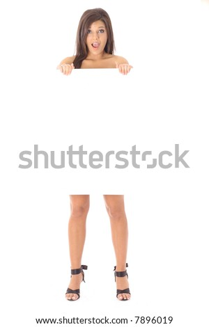 Naked girl holding a sign and