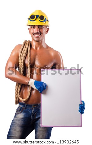Naked builder with blank board