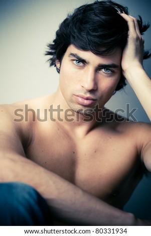 naked caucasian man - stock photo