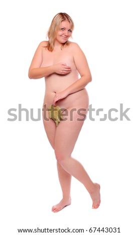 Naked Eve with leaf posing on white background. - stock photo