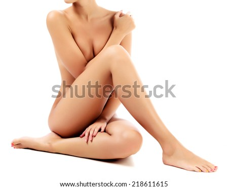 Naked female body, white background, isolated - stock photo