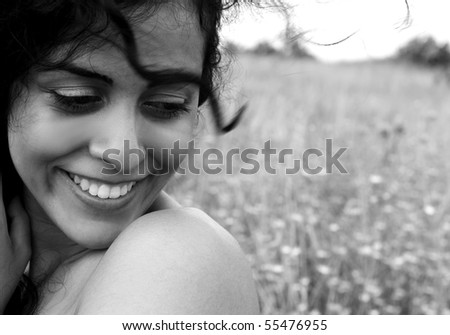 Naked girl in the  field, Portrait - stock photo