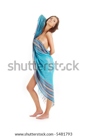 naked girl with blue sarong over white background - stock photo