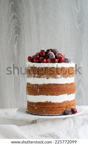 Naked Layer Cake Decorated With Sugared Cranberries - stock photo