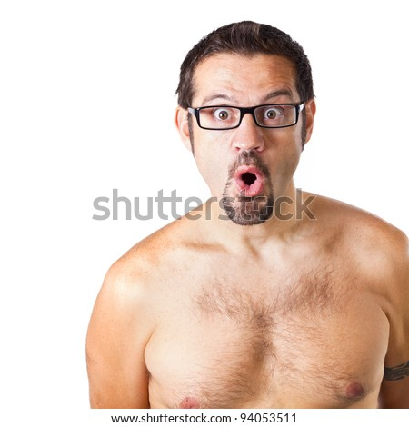 Naked Man with a Surprise Expression - stock photo