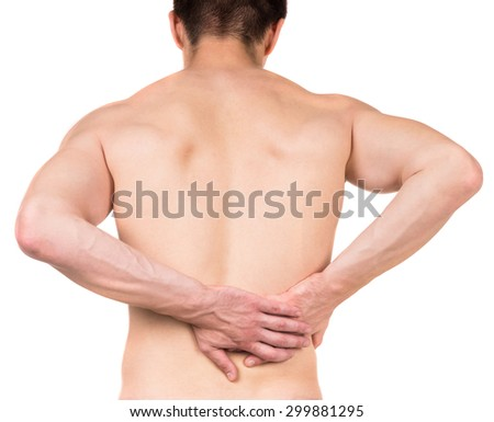 Naked man with lower back pain on white isolated background. Back view.