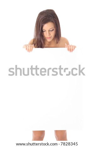 naked model looking at sign - stock photo