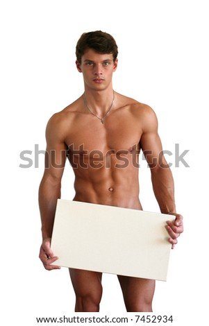 Naked muscular man covering with a box copy space, isolated on white - stock photo