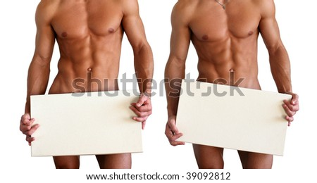 Naked muscular torso covering with a copy space box isolated on white - stock photo