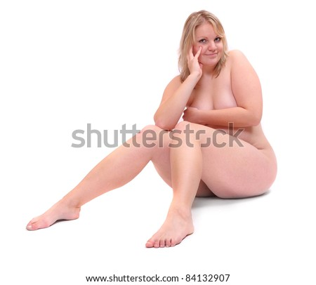 Naked overweight woman on a white background. - stock photo