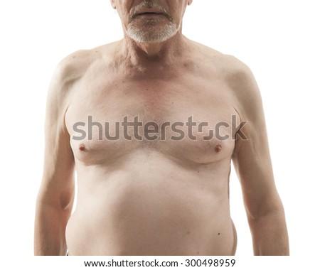 naked senior man with naked torso isolated on white background - stock photo