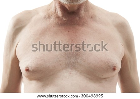 naked senior man with naked torso isolated on white background