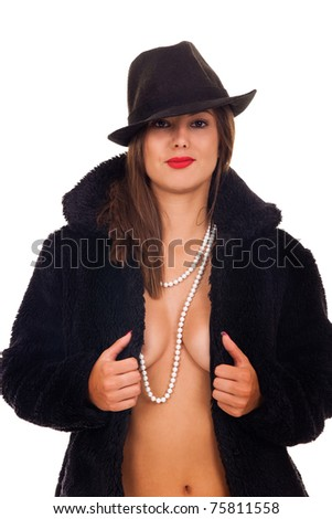 naked sexy woman with hat in black fur coat on white background - stock photo