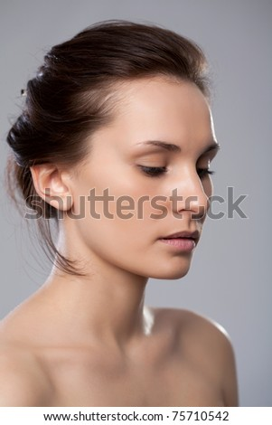 Naked shoulders of charming lady - stock photo