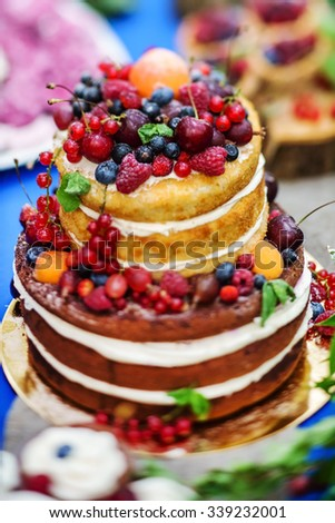 naked wedding cake - stock photo